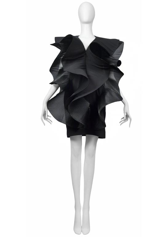 Pierre Cardin Couture horsehair, organza, and silk giant ruffles on a black cocktail dress. Circa, 1986-1993.