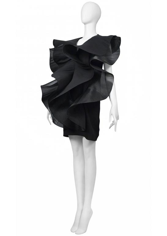 Black Pierre Cardin Couture Architectural Ruffle Dress For Sale