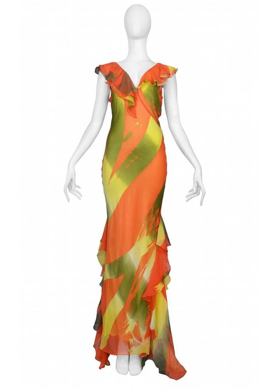 Stephen Burrows Chiffon Abstract Print Gown 2