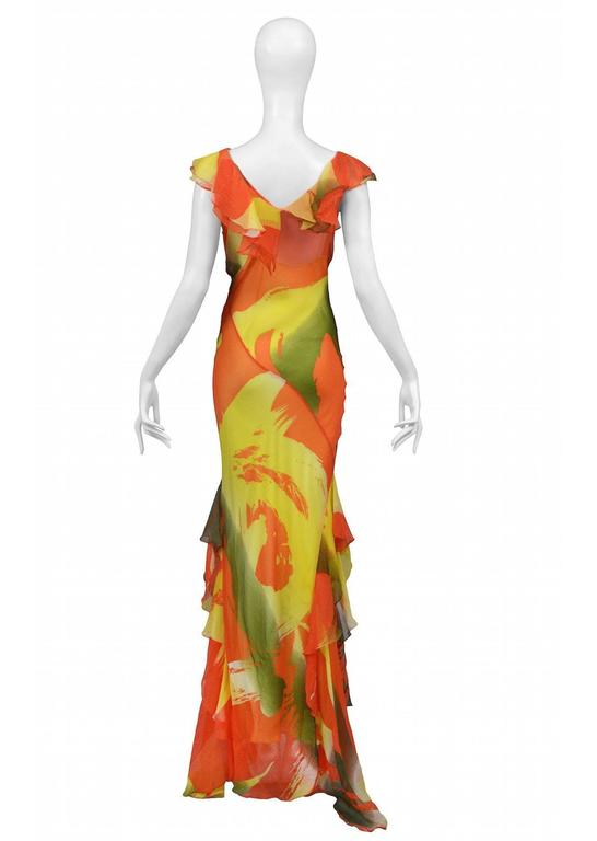 Stephen Burrows Chiffon Abstract Print Gown 3