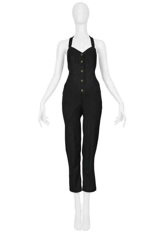Vintage Jean Paul Gaultier button front pinstripe jumpsuit with buckle at back.