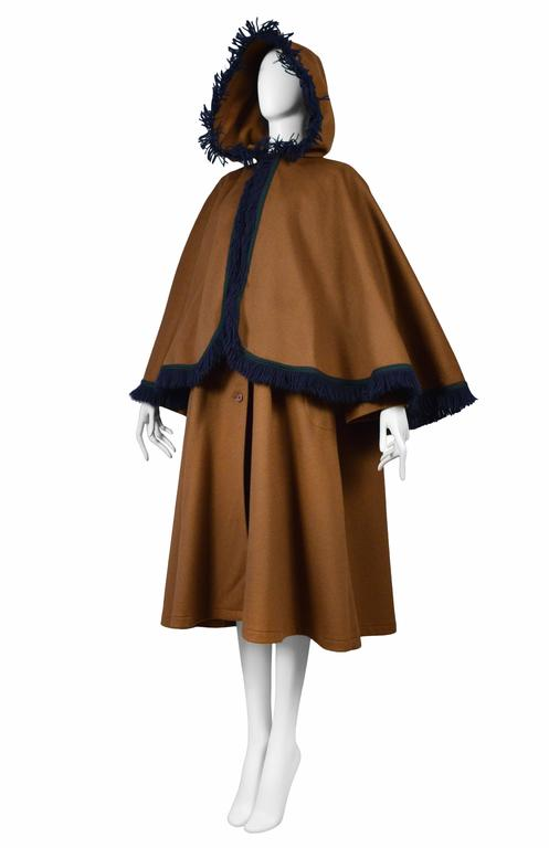 Yves Saint Laurent Brown Wool Cape Coat 3