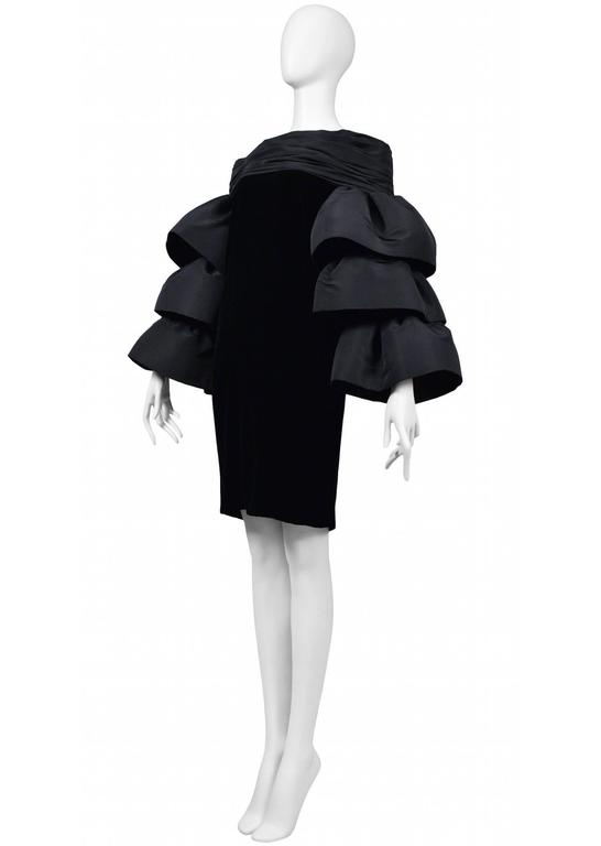 Black Pierre Cardin Couture Ruffle Sleeve Dress For Sale