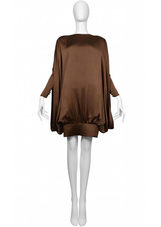 Pierre Cardin Couture brown silk satin