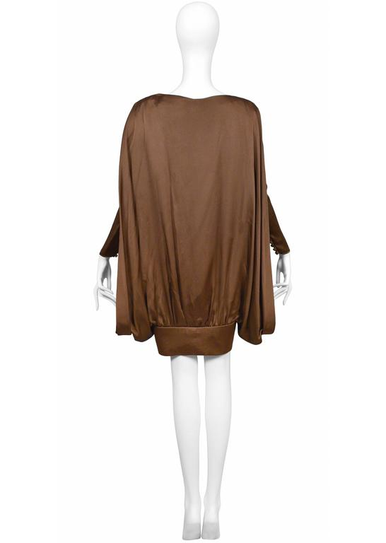 Pierre Cardin Couture Brown Circle Dress In Excellent Condition For Sale In Los Angeles, CA