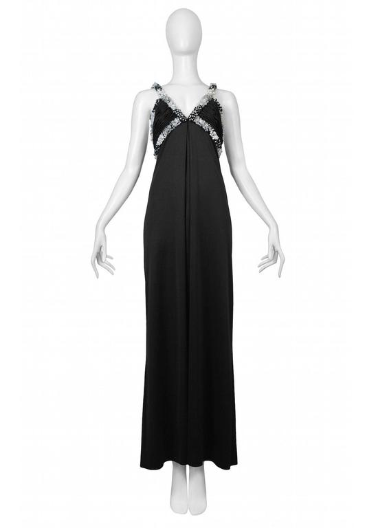 Loris Azzaro Black Beaded Gown For Sale at 1stdibs