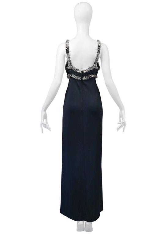 Women's Loris Azzaro Black Beaded Gown For Sale