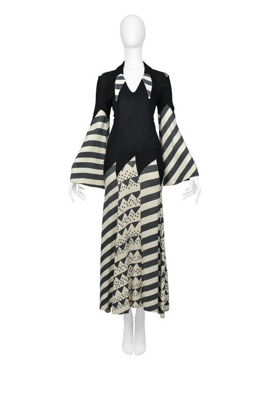 Black Iconic Ossie Clark Celia Birtwell Print Gown For Sale