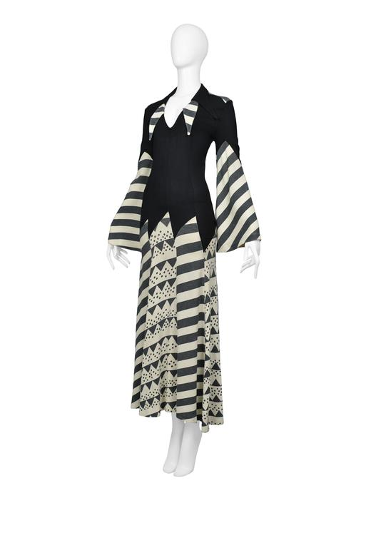Iconic Ossie Clark Celia Birtwell Print Gown In Excellent Condition For Sale In Los Angeles, CA