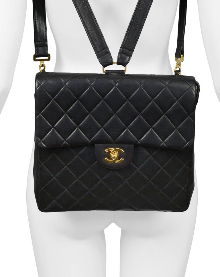 Unusual Chanel Square Quilted Black Leather Backpack Bag With Chain Straps 3
