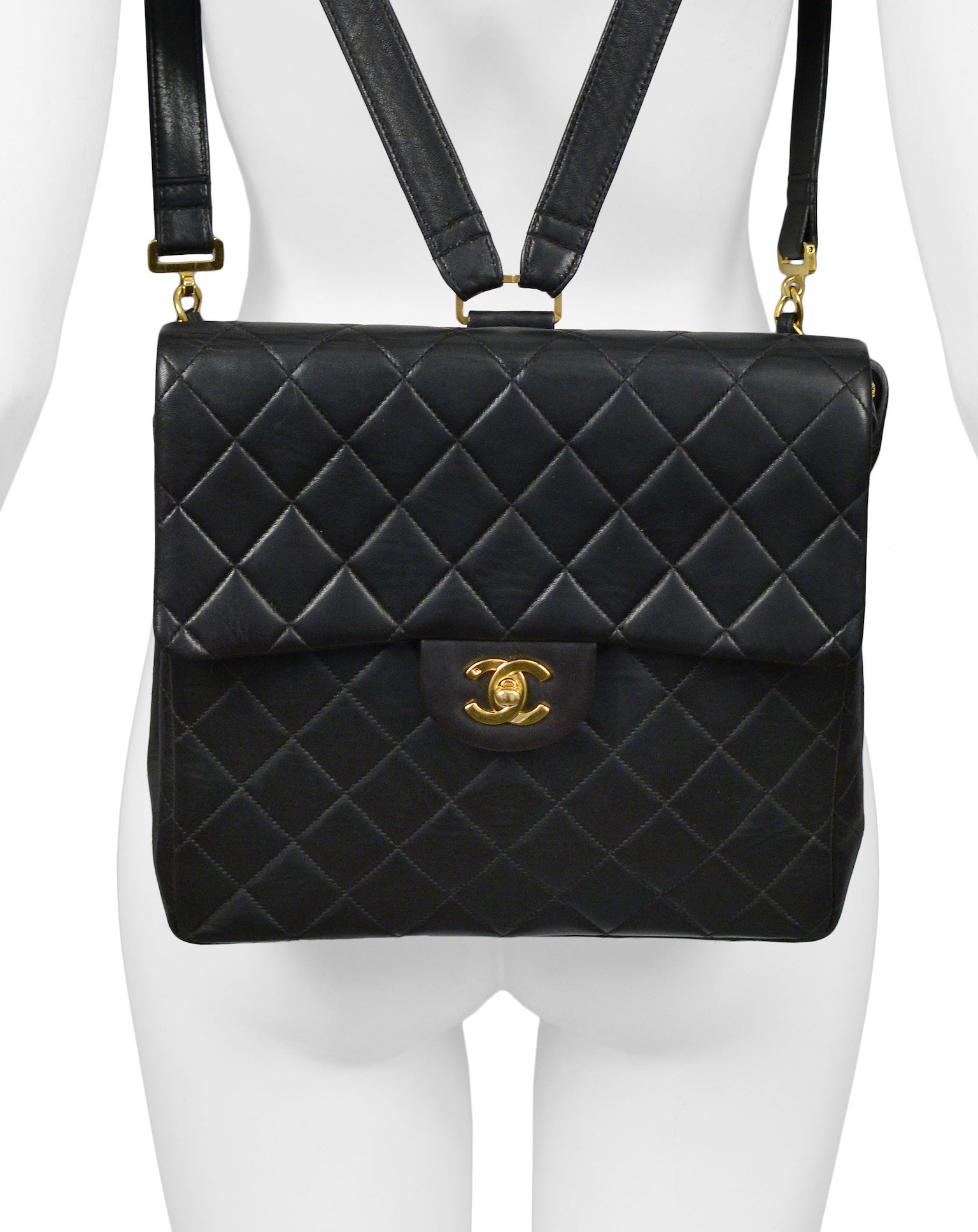 4f0818160b4b Unusual Chanel Square Quilted Black Leather Backpack Bag With Chain Straps  at 1stdibs