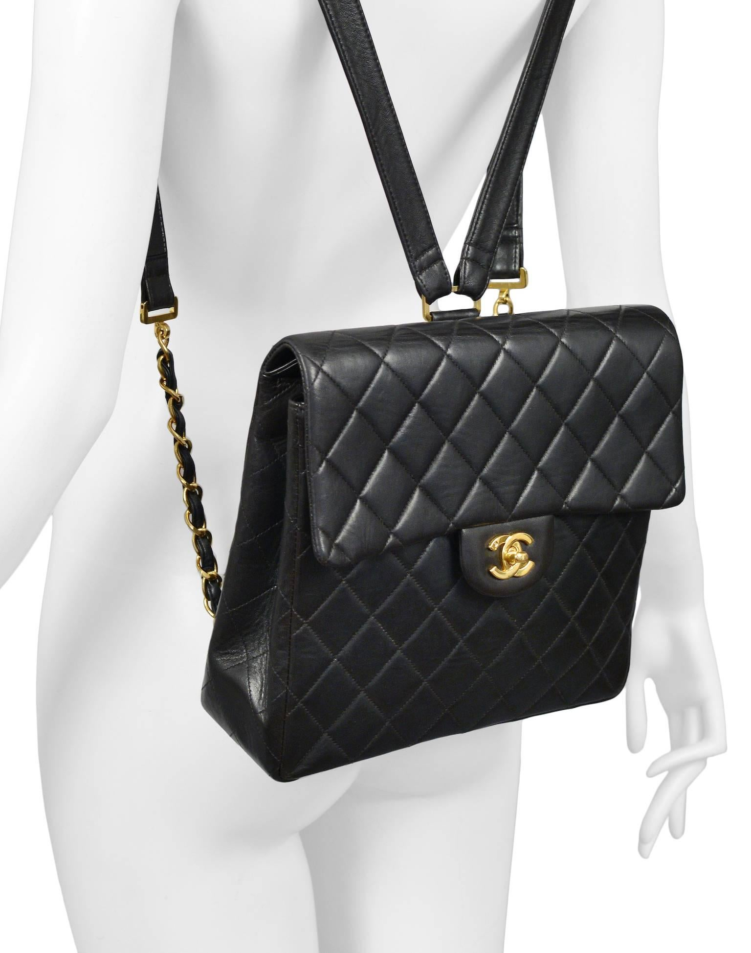 63c0fd557004 Unusual chanel square quilted black leather backpack bag with chain straps  at stdibs jpg 1536x1947 Black