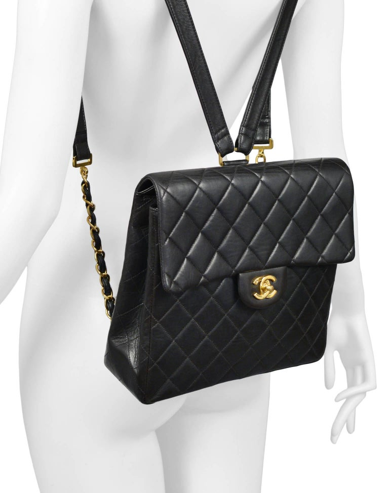 Unusual Chanel Square Quilted Black Leather Backpack Bag With Chain Straps 4