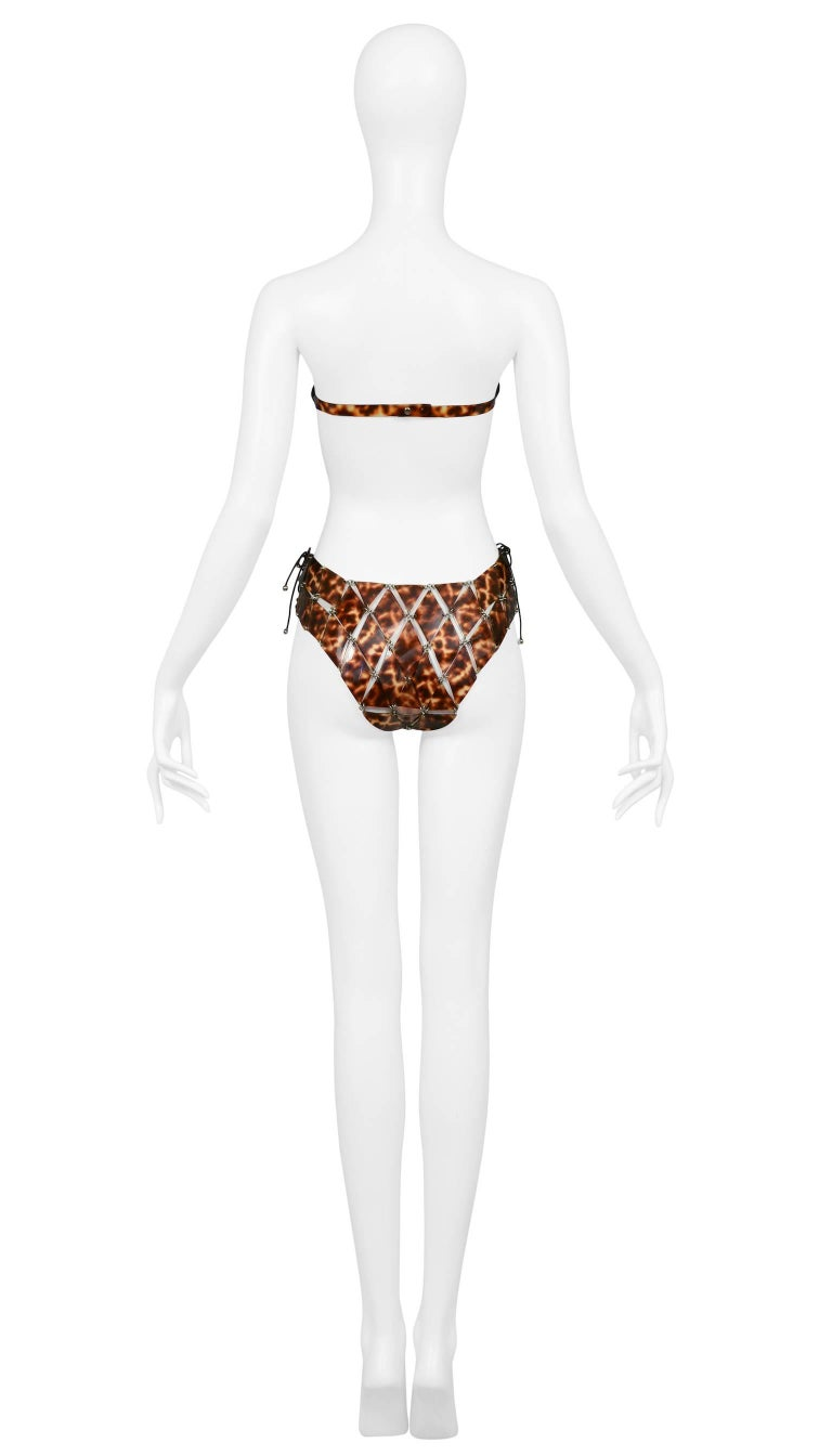 Paco Rabanne Tortoise Rubber Couture Corset Disc Bikini Swim Suit  4