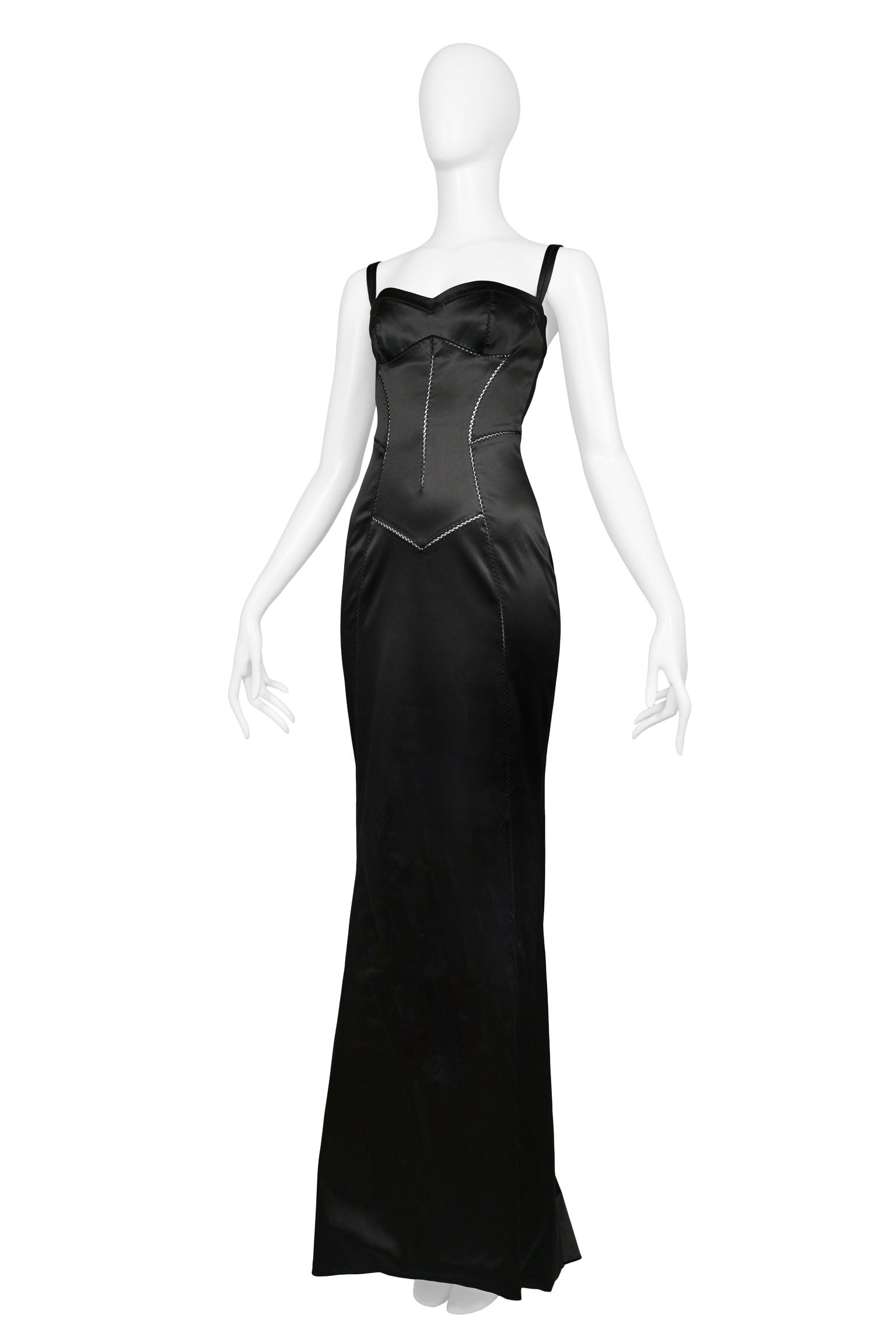 Dolce and Gabbana Black Satin Bustier Evening Gown with Train Hem at ...