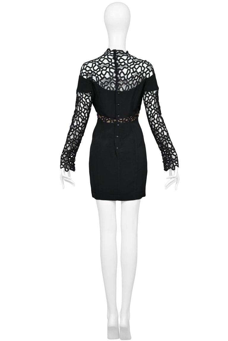 Women's Thierry Mugler Black Lace & Insets Long Sleeve Mini Cocktail Dress  For Sale