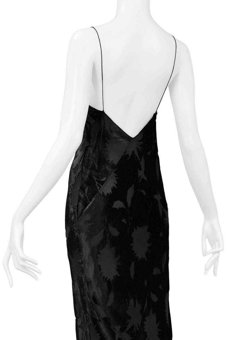 Vintage 1990\'s Calvin Klein Black Velvet Burnout Bias Slip Gown For ...