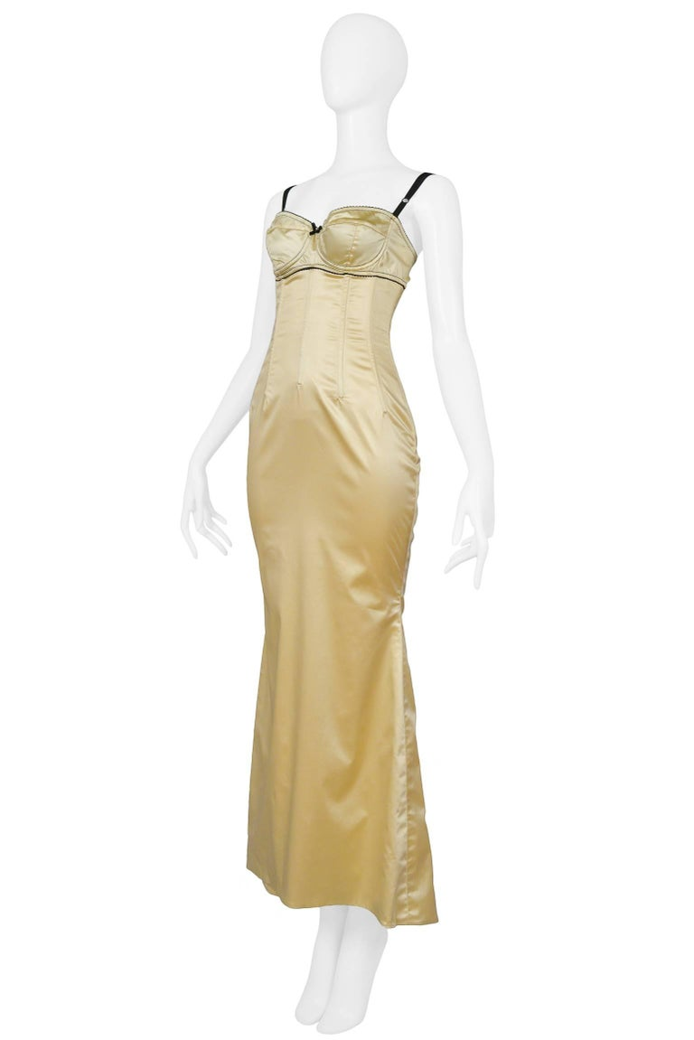 Dolce & Gabbana Pale Yellow Satin Bustier Gown  3