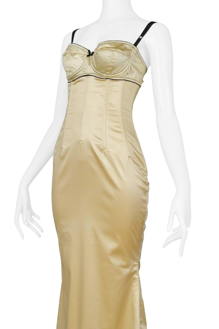 Dolce & Gabbana Pale Yellow Satin Bustier Gown  4