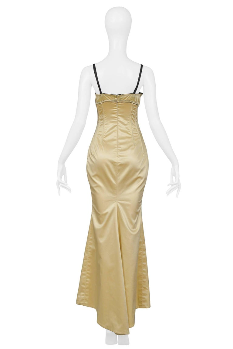 Dolce & Gabbana Pale Yellow Satin Bustier Gown  6