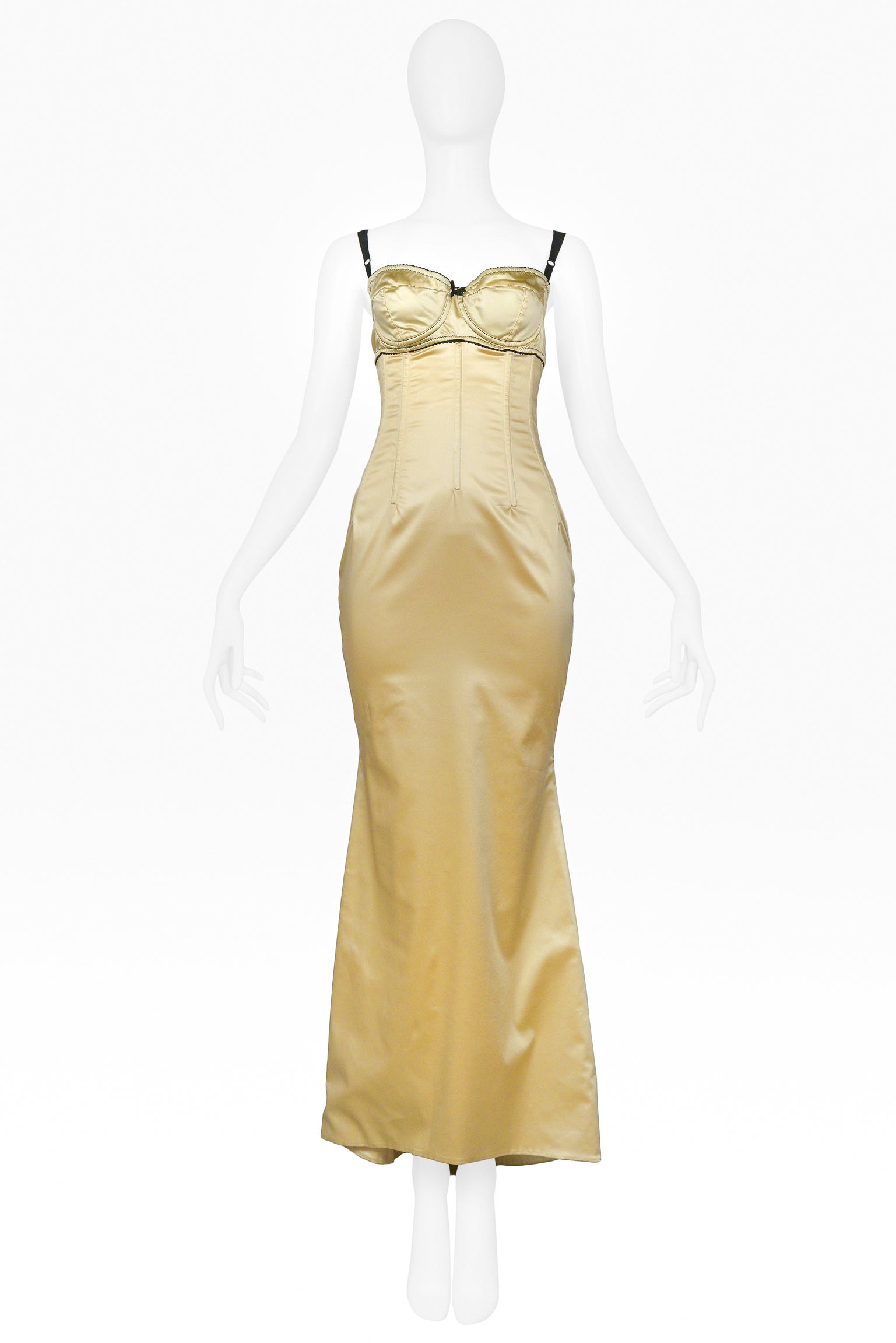 Dolce and Gabbana Pale Yellow Satin Bustier Gown For Sale at 1stdibs