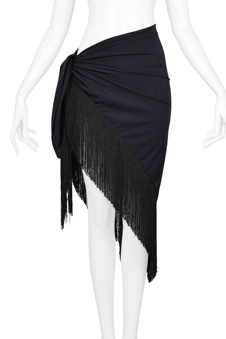 Chic Dior Black Sarong Wrap With Fringe - Swimsuit cover up + After Swim In New Condition In Los Angeles, CA