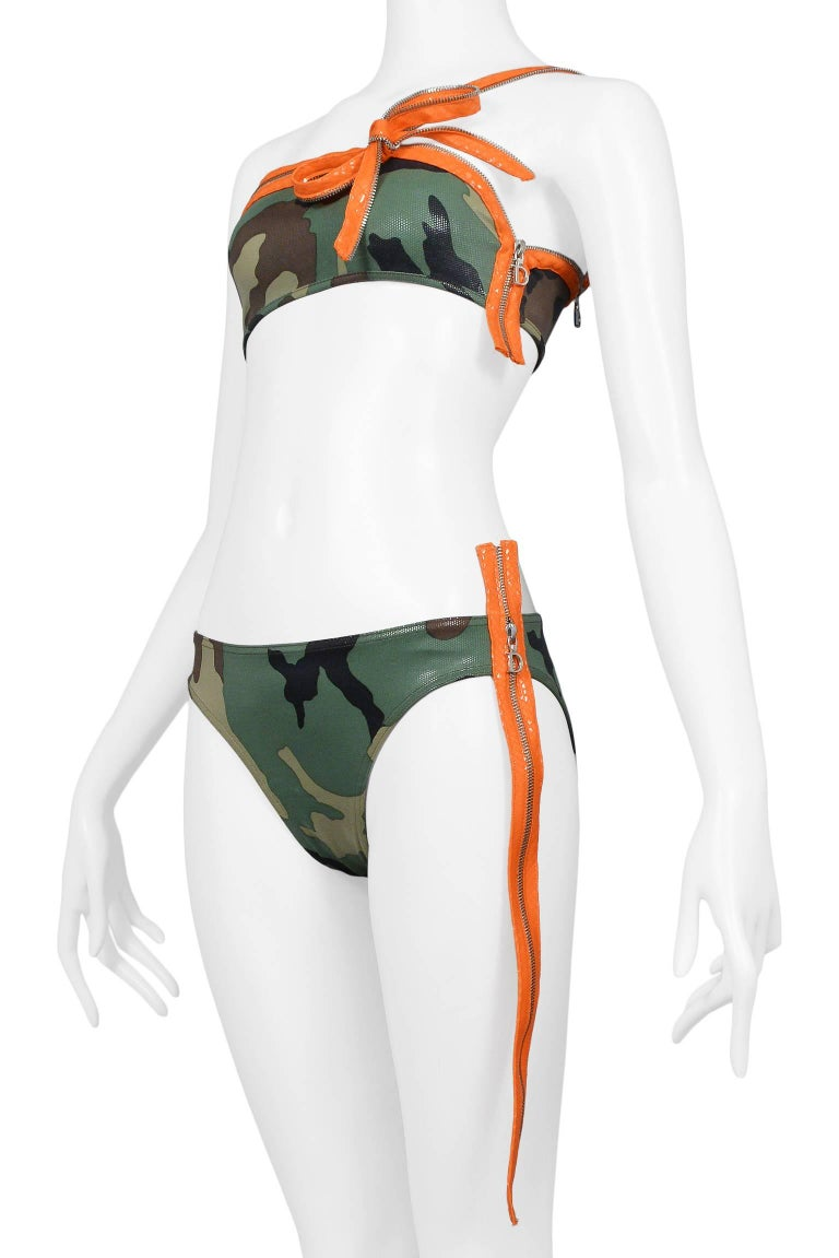Iconic Dior By John Galliano Camouflage & Zipper Bikini 2001 Never Worn!  4