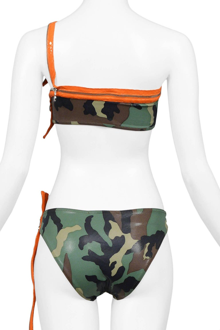 Iconic Dior By John Galliano Camouflage & Zipper Bikini 2001 Never Worn!  7