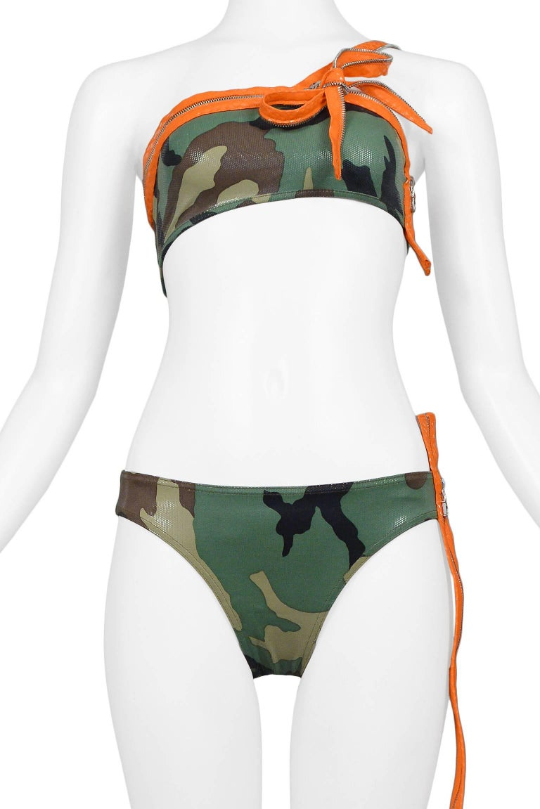 Iconic Dior By John Galliano Camouflage & Zipper Bikini 2001 Never Worn!  3