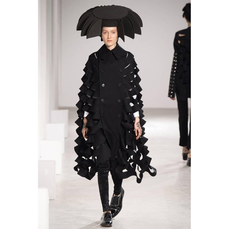 Future Vintage Junya Watanabe Black Double Breasted Laser Cut Cape Runway 2015  In New Condition For Sale In Los Angeles, CA