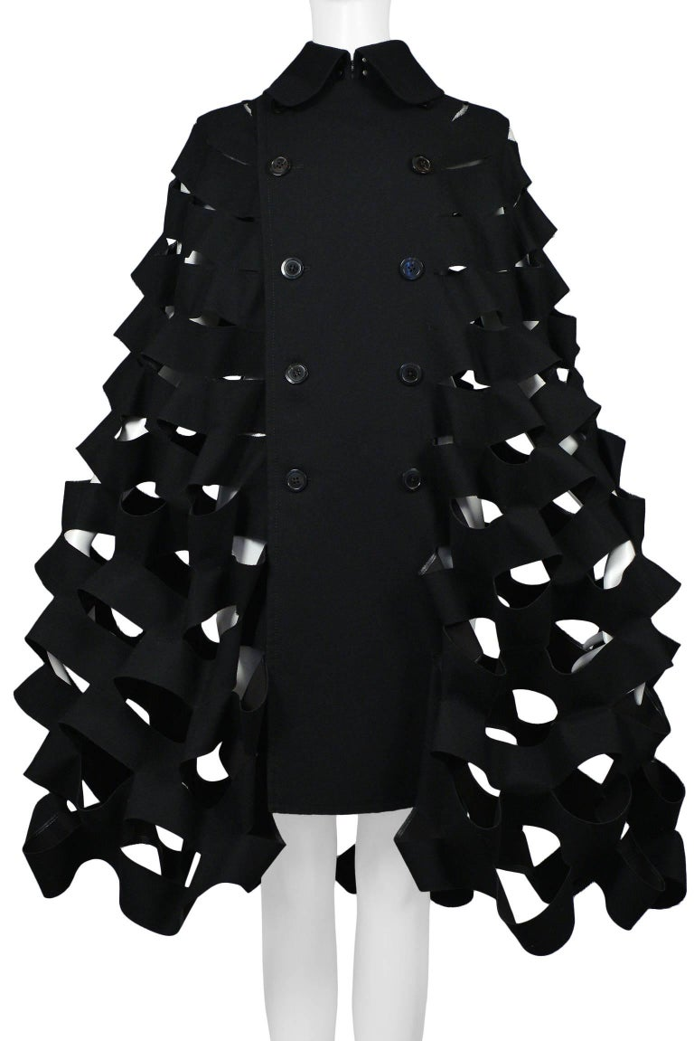 Women's Future Vintage Junya Watanabe Black Double Breasted Laser Cut Cape Runway 2015  For Sale