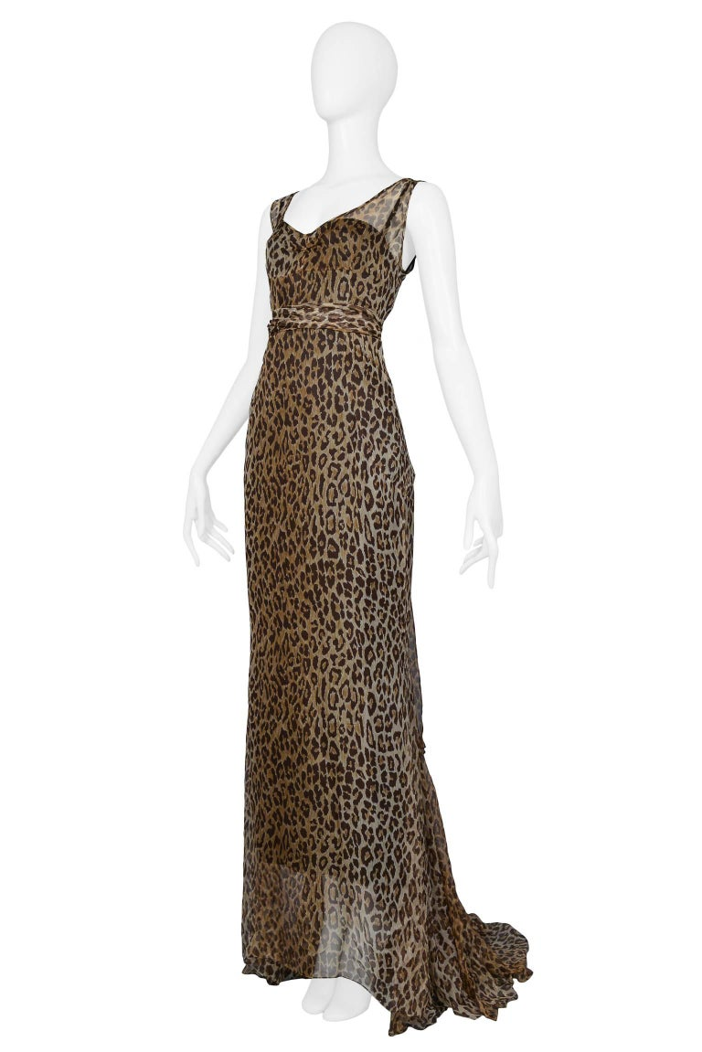 Dolce and Gabbana Leopard Print Statement Evening Gown with Train ...