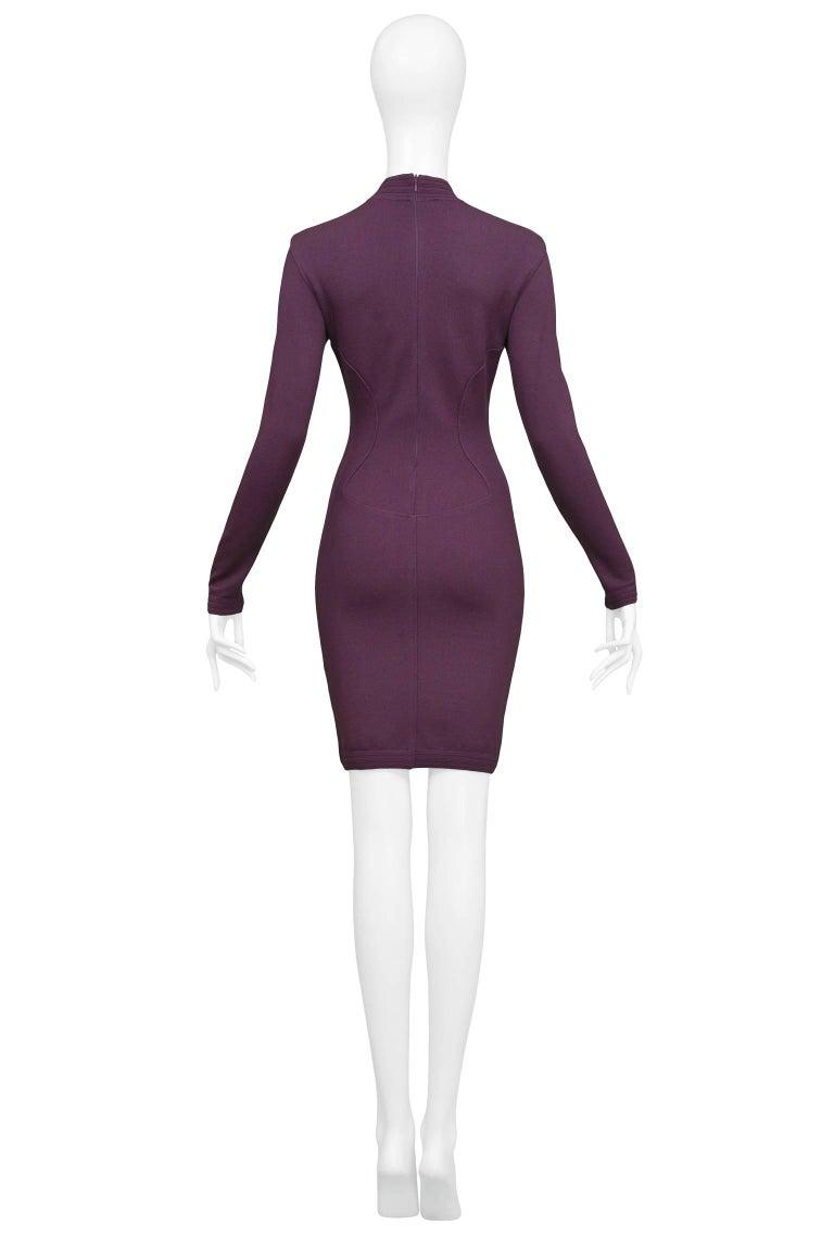 Pristine Vintage Alaia Purple Knit Body Con Dress 1991  In Excellent Condition For Sale In Los Angeles, CA