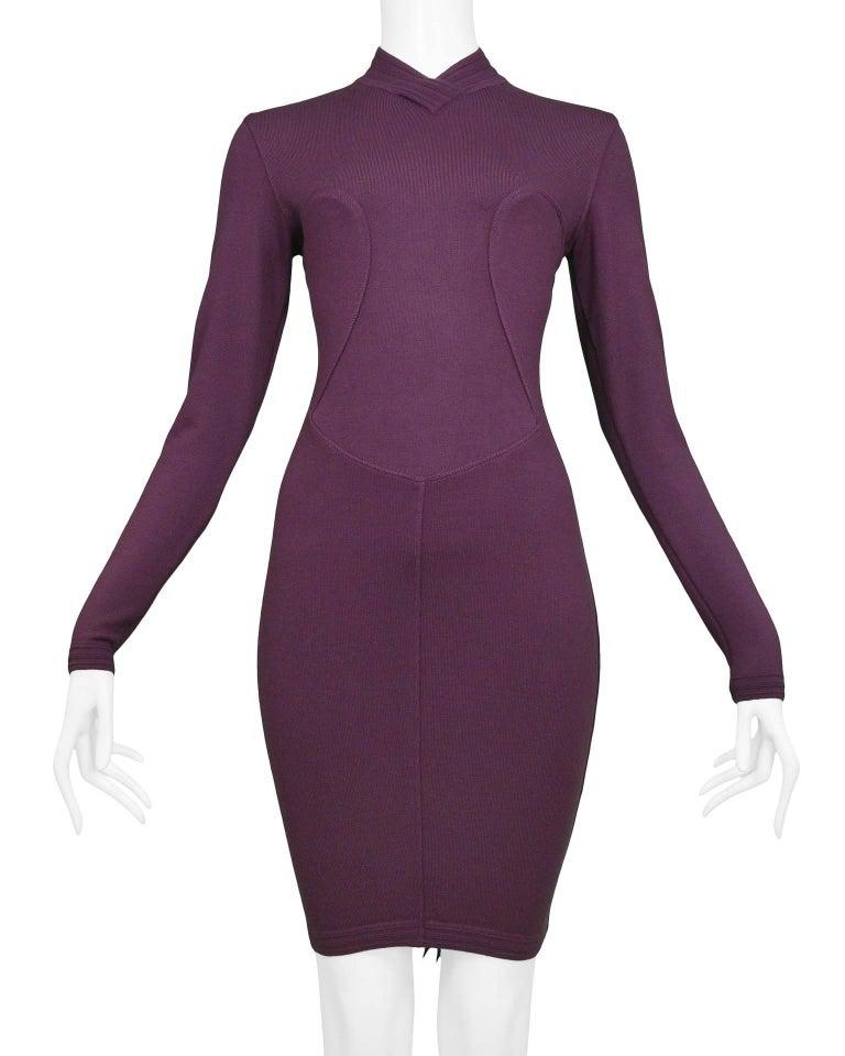 Black Pristine Vintage Alaia Purple Knit Body Con Dress 1991  For Sale