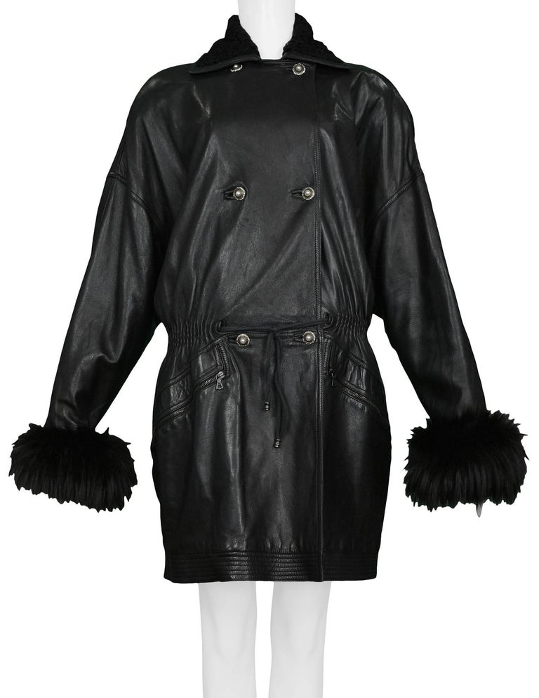Women's Vintage Gianni Versace Black Leather Parka Coat with Fur Cuffs & Collar For Sale