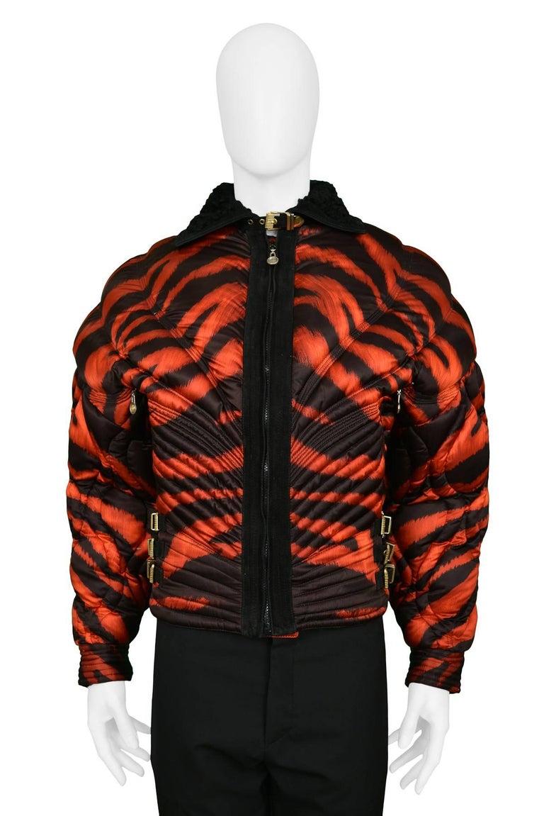 2a6091de0e Gianni Versace Apres Ski Red Tiger Print Bondage Puffer Jacket 1992 2
