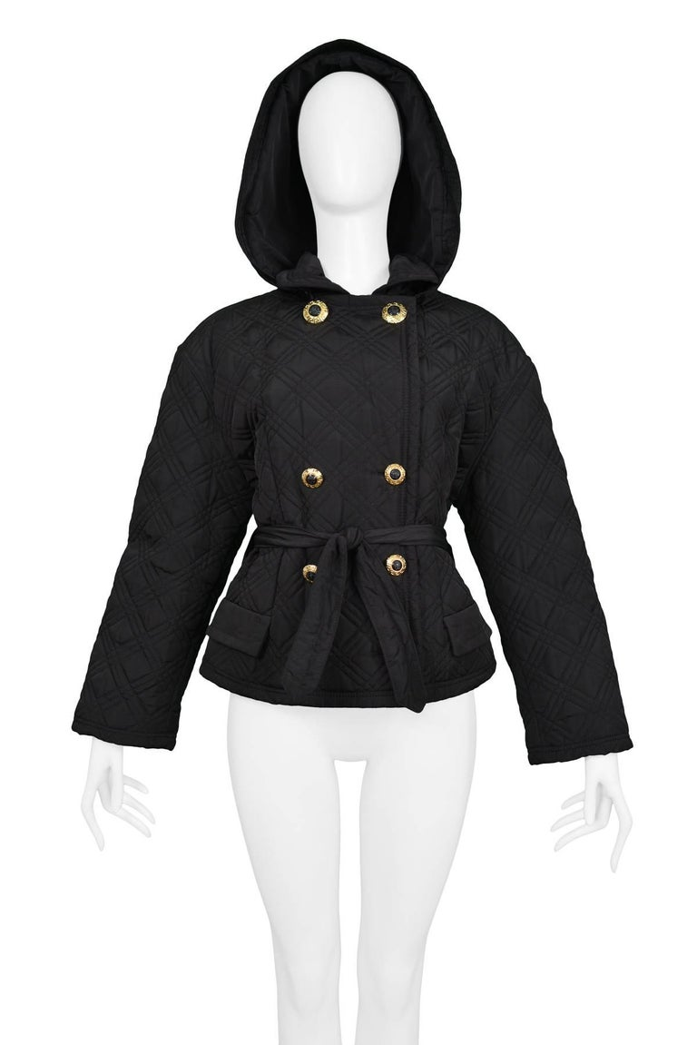 Women's Gianni Versace Vintage Black Quilted Hooded Jacket with Gold Buttons For Sale