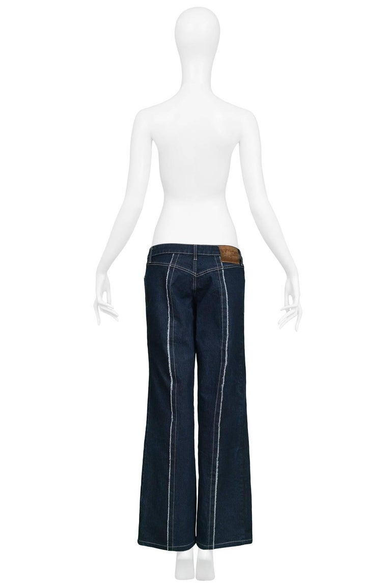 """Black Legendary Alexander McQueen Iconic """"Bumster"""" Lowest Rise Runway Jeans 1990's For Sale"""