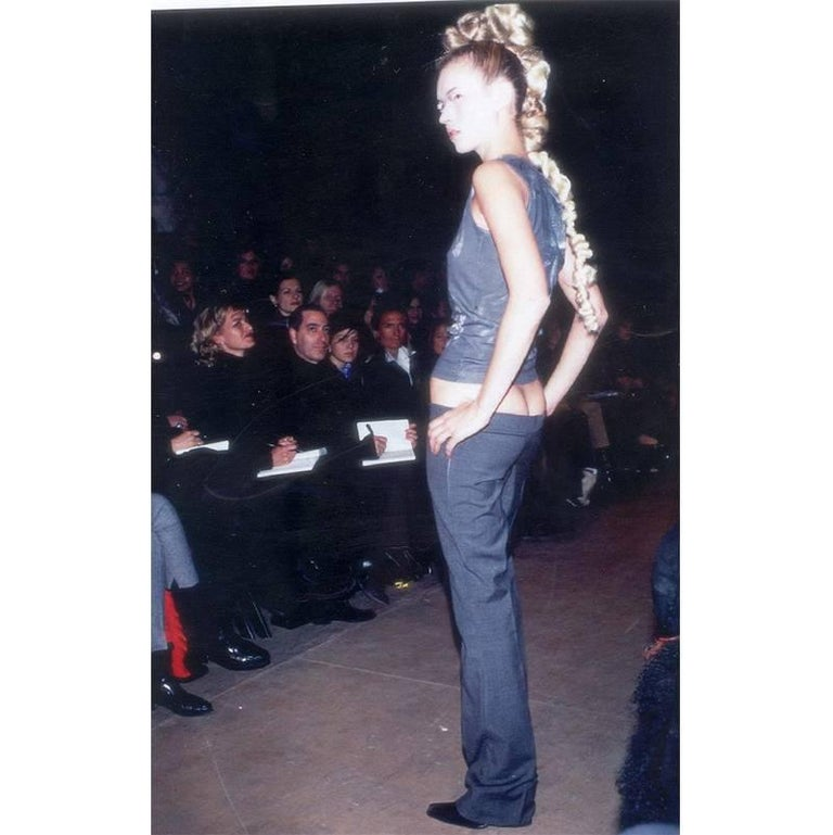 """Legendary Alexander McQueen Iconic """"Bumster"""" Lowest Rise Runway Jeans 1990's 4"""