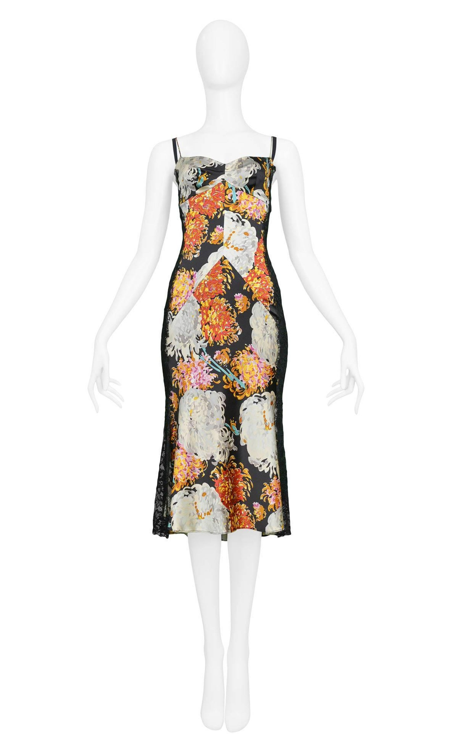 b86bff0fc0 Sexy Dolce and Gabbana Satin Floral Print Cocktail Dress with Black Lace  Insets at 1stdibs