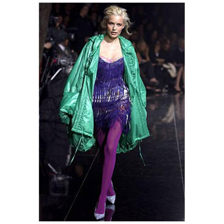 Stunning purple fringe Dolce & Gabbana party dress with floral under body and corset sides. Collection 2003.