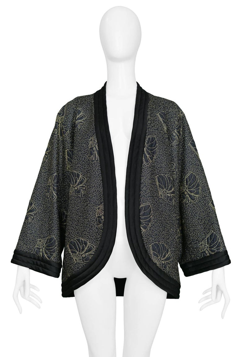 Yves Saint Laurent Vintage Black Kimono Jacket with Gold Embroidered Sea Shells  In Excellent Condition For Sale In Los Angeles, CA