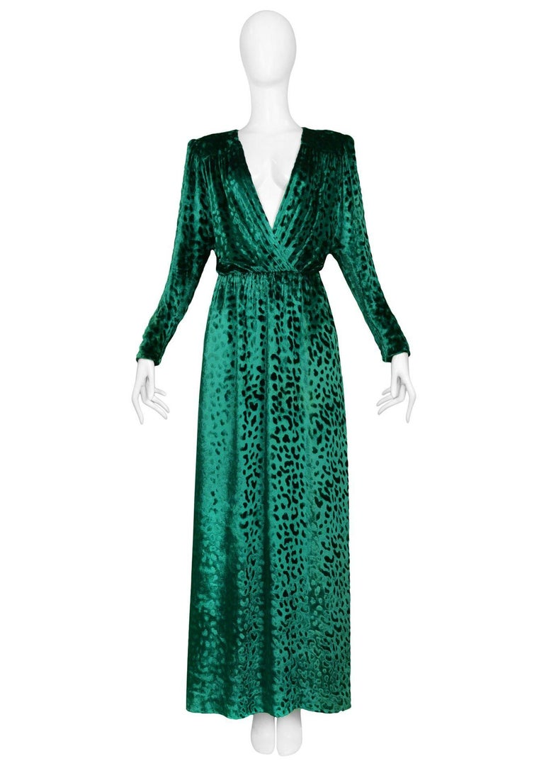 Yves Saint Laurent Vintage Emerald Green Velvet Leopard Gown at 1stdibs