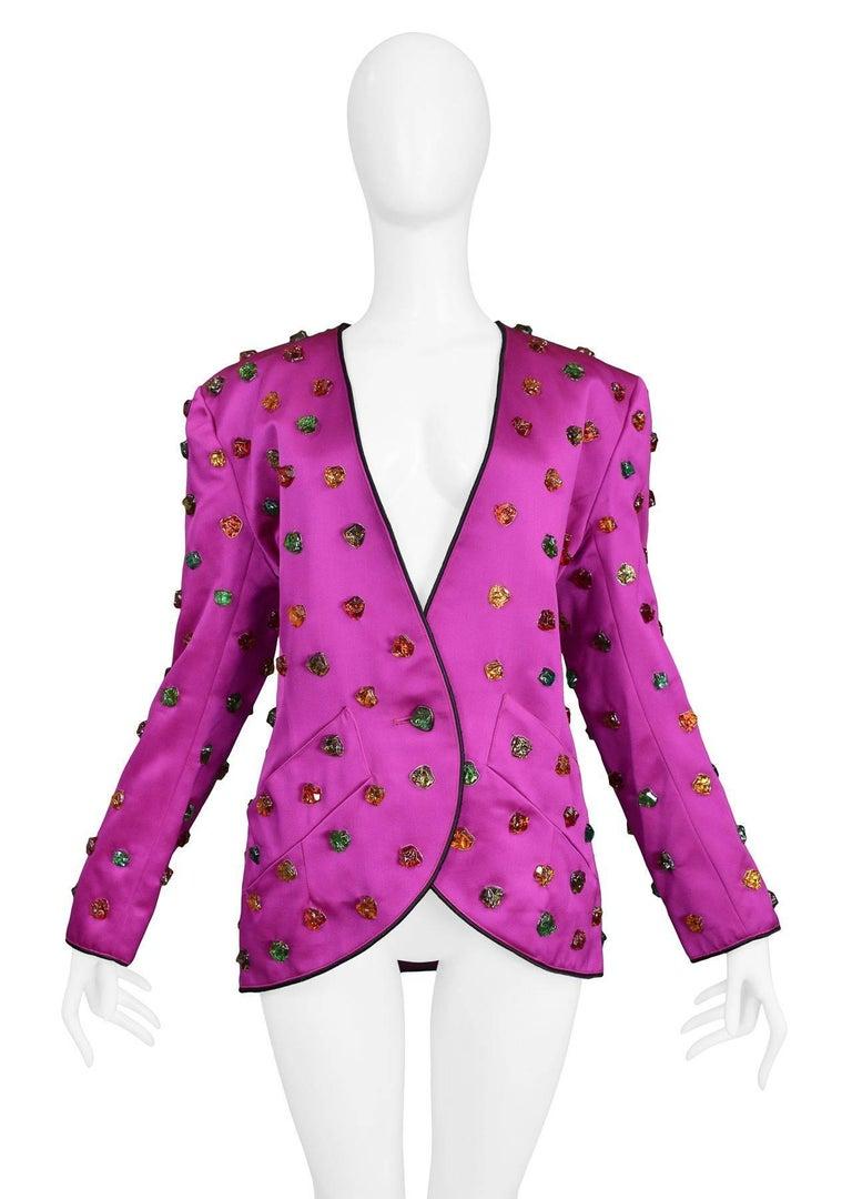 Women's Vintage Yves Saint Laurent Gripoix Gemstone Satin Evening Jacket For Sale