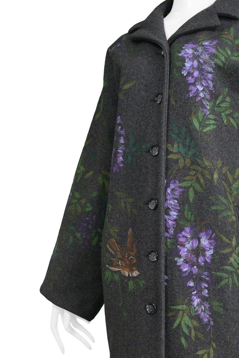 Women's Vintage Dolce & Gabbana Hand-painted Flowers + Birds Wool Kimono Coat 1998 For Sale
