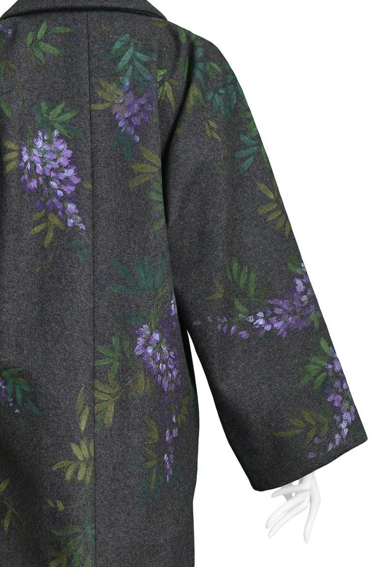 Vintage Dolce & Gabbana Hand-painted Flowers + Birds Wool Kimono Coat 1998 For Sale 2