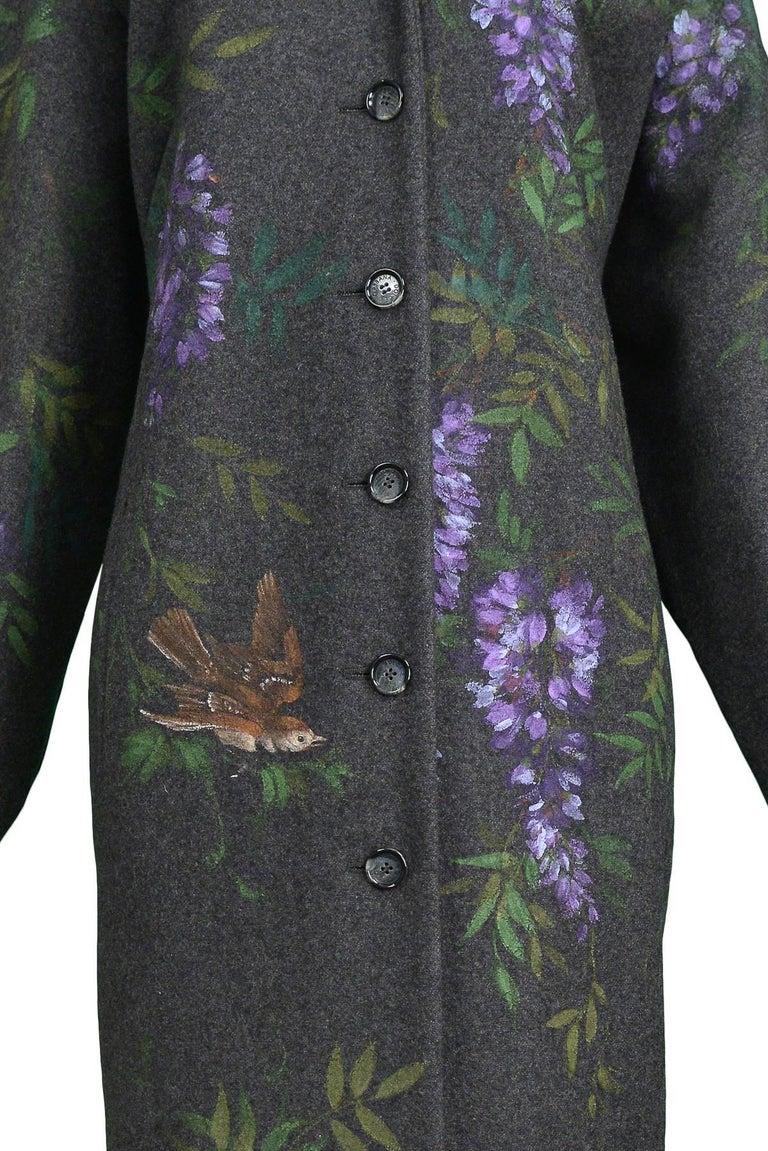 Black Vintage Dolce & Gabbana Hand-painted Flowers + Birds Wool Kimono Coat 1998 For Sale