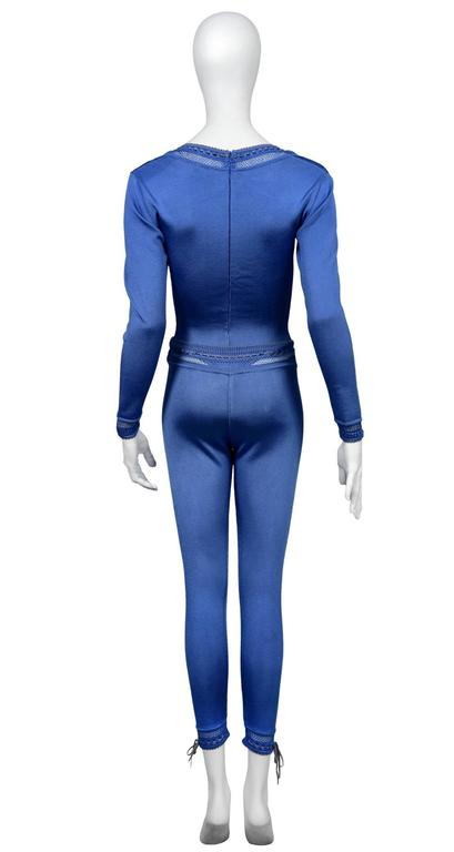Alaia Blue Bodysuit and Leggings Ensemble In Excellent Condition For Sale In Los Angeles, CA