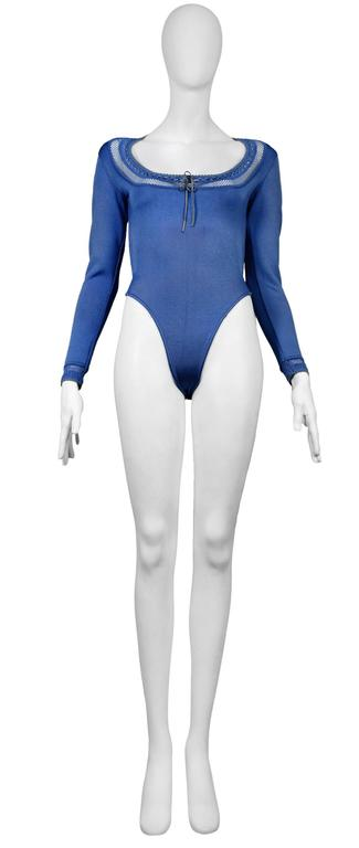 Women's Alaia Blue Bodysuit and Leggings Ensemble For Sale