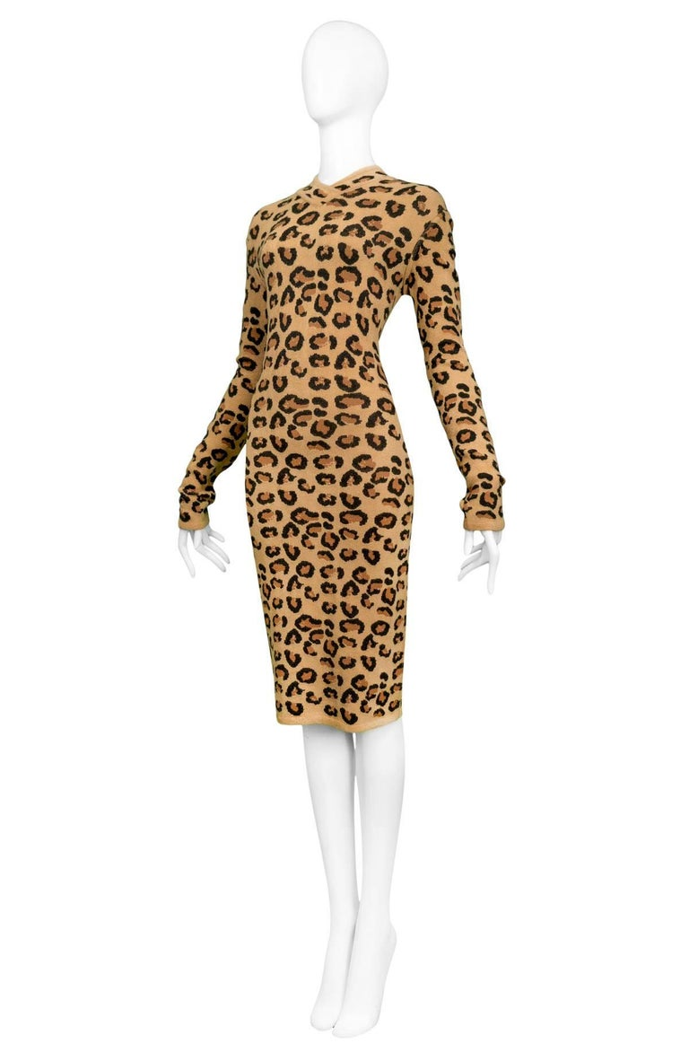 Brown Iconic Azzedine Alaia Leopard Knit Body-Con Dress 1991  For Sale